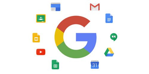Google logo with popular app icons around it