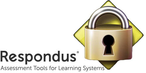 Respondus logo with tagline: Assessment tools for learning systems and lock - logo for Lockdown Browser