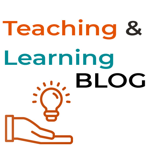 Teaching & Learning Blog text with a hand holding a lightbulb